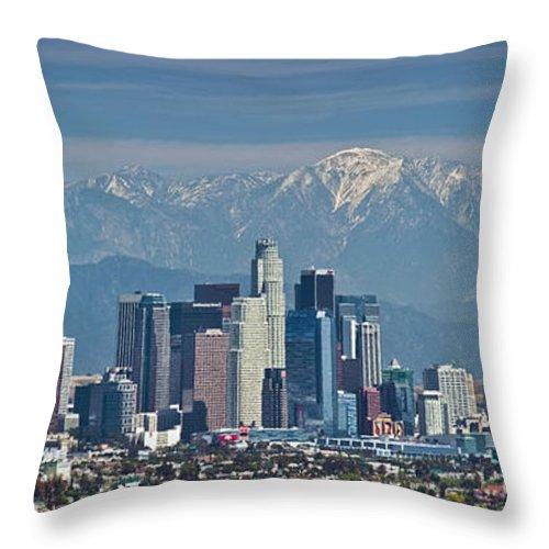 Kenneth Hahn State Recreation Area Throw Pillow featuring the photograph Los Angeles Skyline Mt Baldy Snowcap by David Zanzinger
