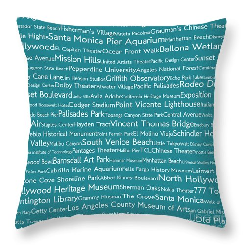 City Throw Pillow featuring the digital art Los Angeles in Words Teal by Sabine Jacobs