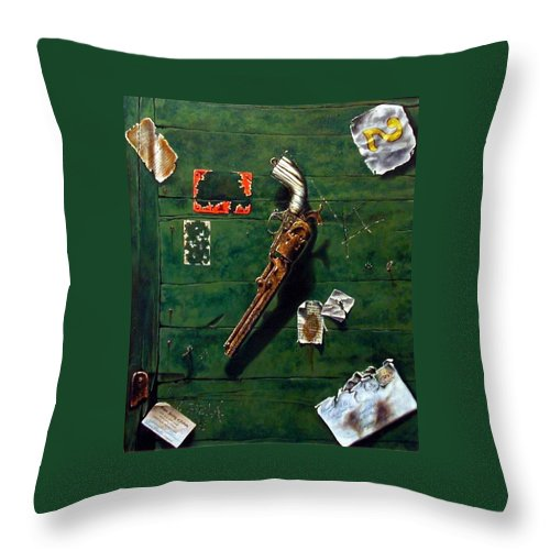 Trompe Le Oil Throw Pillow featuring the painting Lost And Found by Jim Gola