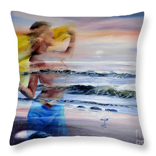 Surrealistic Throw Pillow featuring the painting Lost At Sea by Paula Visnoski