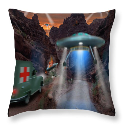 Ufo Landing Throw Pillow featuring the photograph Lost Film Number 3 by Mike McGlothlen
