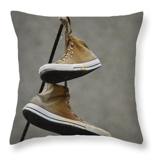 Shoes Throw Pillow featuring the photograph Lost Teens by The Artist Project