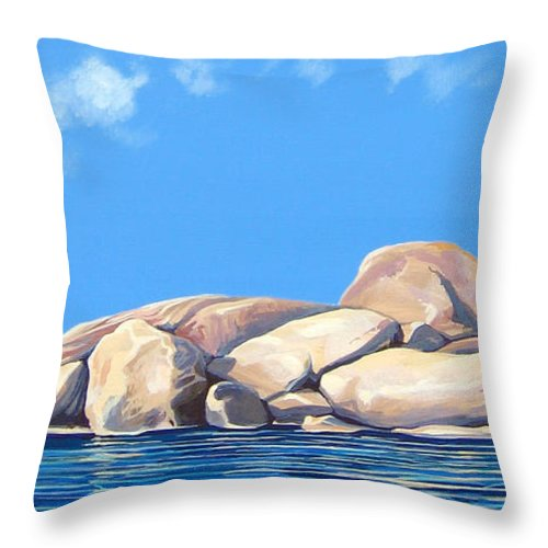 Rocks Throw Pillow featuring the painting Lost Voices by Hunter Jay