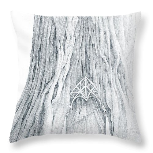 Lothlorien Throw Pillow featuring the drawing Lothlorien Mallorn Tree by Curtiss Shaffer