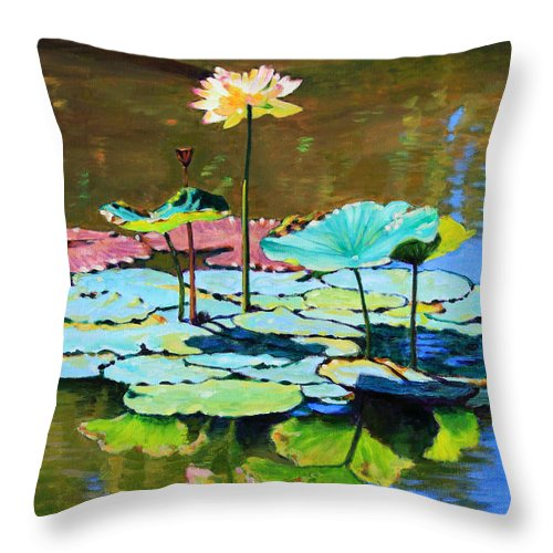 Lotus Throw Pillow featuring the painting Lotus Above the Lily Pads by John Lautermilch