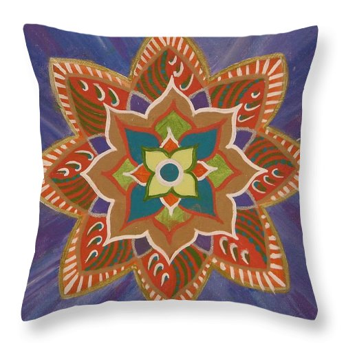 Lotus Flower Throw Pillow featuring the painting Lotus Flower 2 by Don Parker