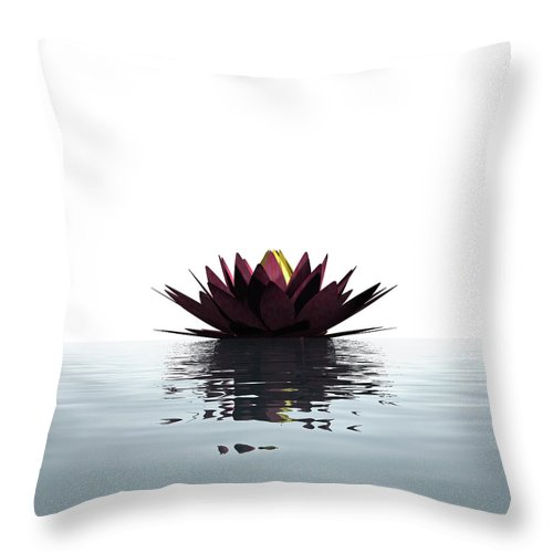 White Background Throw Pillow featuring the photograph Lotus Flower Floating On The Water by Artpartner-images