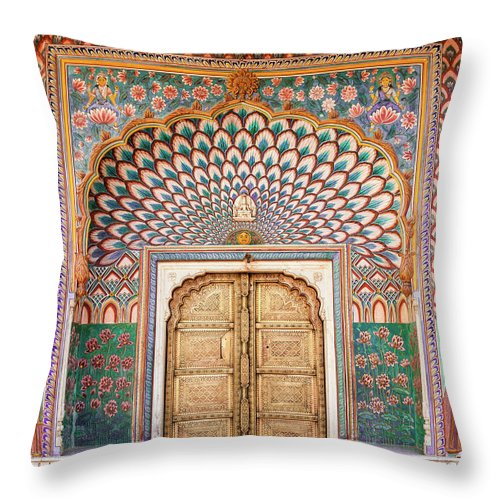 Arch Throw Pillow featuring the photograph Lotus Gate In Jaipur City Palace by Hakat
