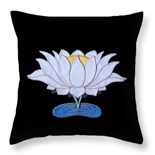 Lotusflower Throw Pillow featuring the tapestry - textile Lotus by Leslie Rinchen-Wongmo