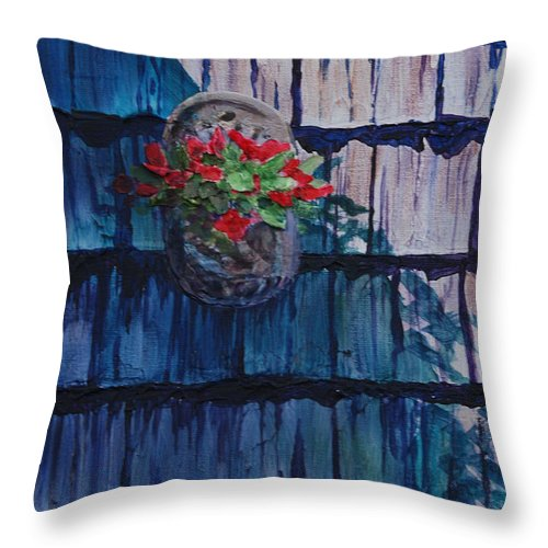 Floral Throw Pillow featuring the painting Louie's House by Heidi E Nelson