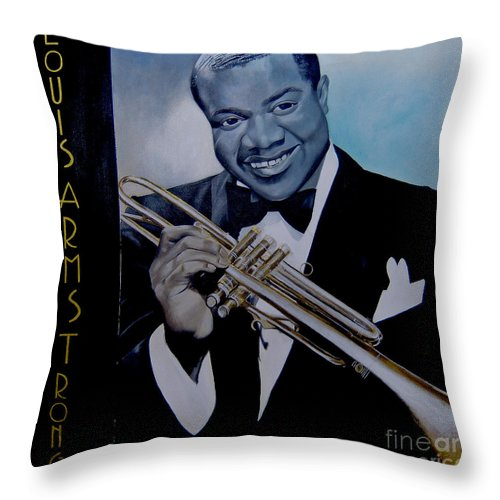 Jazz Throw Pillow featuring the painting Louis Armstrong by Chelle Brantley