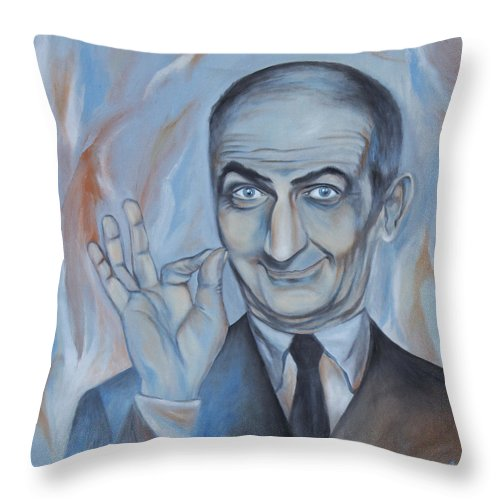 Portrait Throw Pillow featuring the painting Louis De Funes by Nikolett Komeny