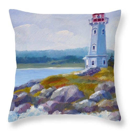 Seascape Throw Pillow featuring the painting Louisbourg Lighthouse by Janet Zeh