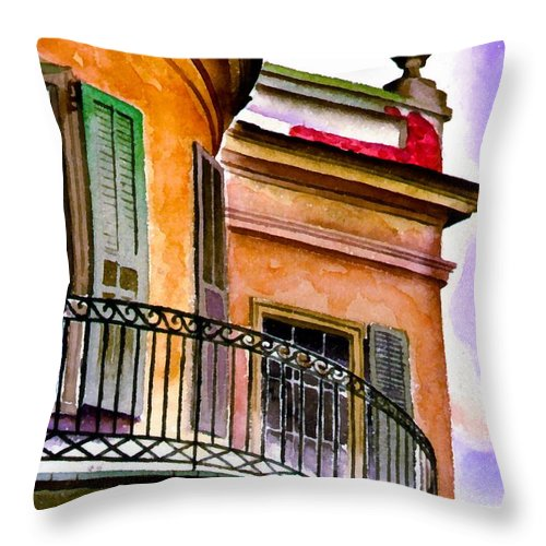 Boyd Cruise Throw Pillow featuring the digital art Louisiana Bank Building New Orleans by Boyd Cruise