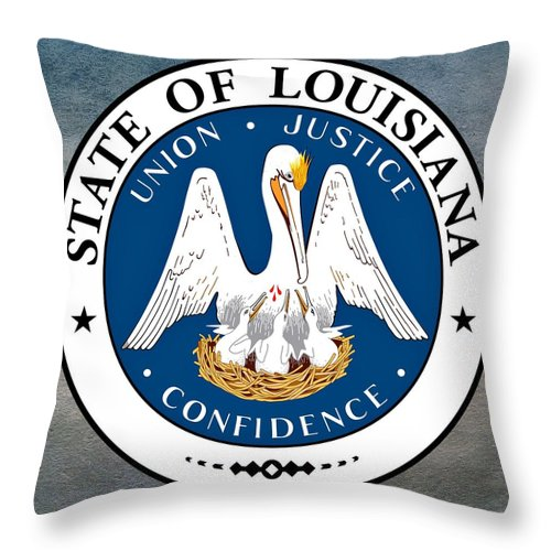 Louisiana Throw Pillow featuring the digital art Louisiana State Seal by Movie Poster Prints