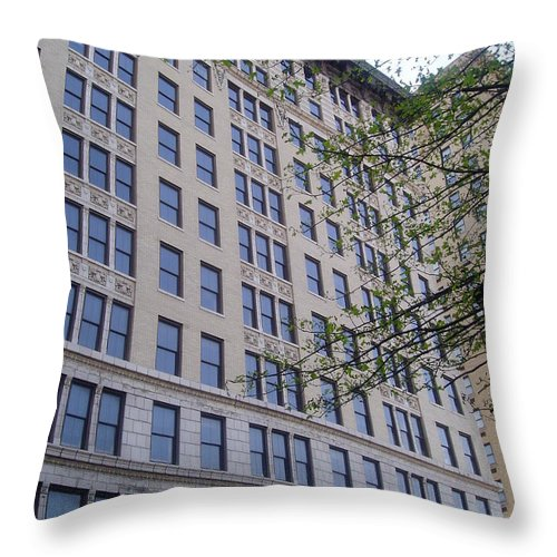 Louisville Throw Pillow featuring the photograph Louisville Buildings 1 by Jennifer E Doll