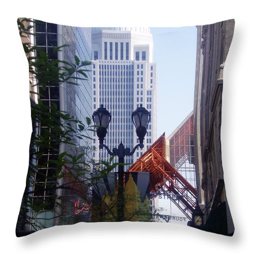 White Throw Pillow featuring the photograph Louisville Buildings 2 by Jennifer E Doll