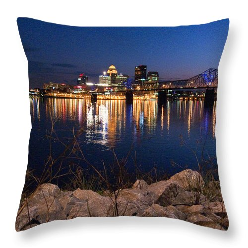 Landscape Throw Pillow featuring the photograph Louisville Rocks At Night by Kevin Jackson