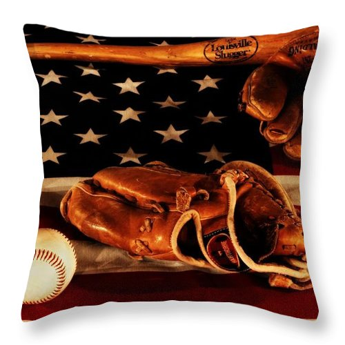 Baseball An American Tradition Throw Pillow featuring the photograph Louisville Slugger by Dan Sproul