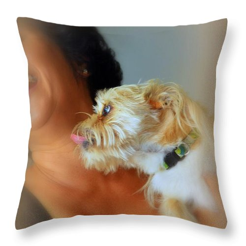 Dog Throw Pillow featuring the photograph Love And Laughter by Lori Seaman