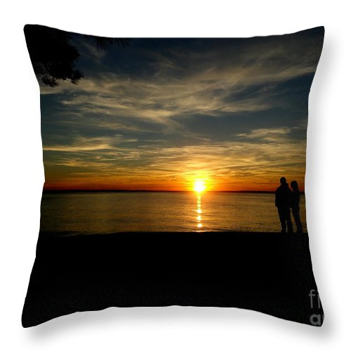 Newport News Throw Pillow featuring the photograph Love At Sunset by Ola Allen