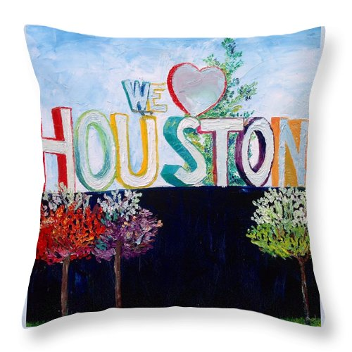 Houston Throw Pillow featuring the painting Love For Houston by Lauren Luna