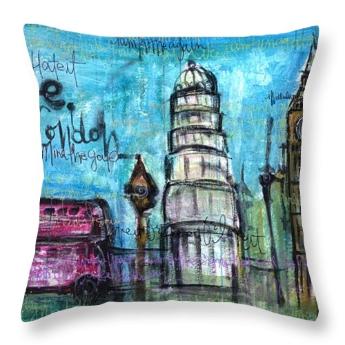 London Throw Pillow featuring the painting Love For London by Laurie Maves ART