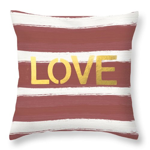 Stripes Throw Pillow featuring the painting Love In Gold And Marsala by Linda Woods