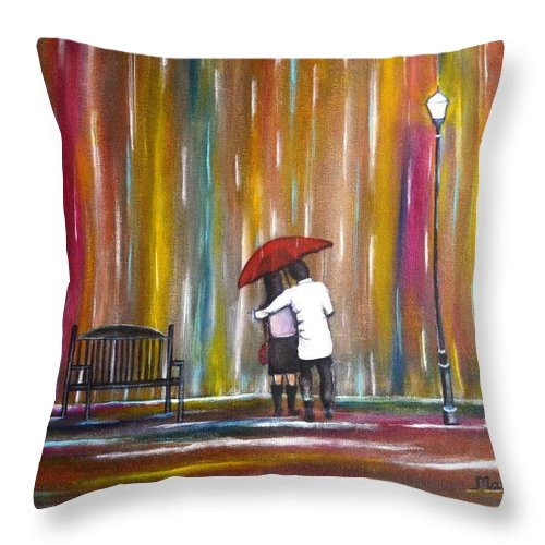Romance Throw Pillow featuring the photograph Love in the Rain by Manjiri Kanvinde