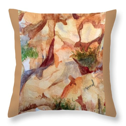 Heart Throw Pillow featuring the painting Love In The Rocks Medjugorje 2 by Vicki Housel