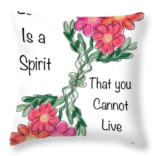 Greeting Card Throw Pillow featuring the painting Love Is A Spirit by Christine Fournier