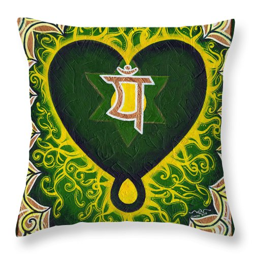 Green Throw Pillow featuring the painting Love Is Spiritual Heart Chakra by Divinity MonSun Chan