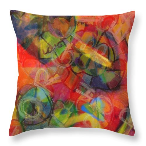Romantic Throw Pillow featuring the mixed media Love Lessons by Wendie Busig-Kohn