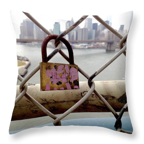 Love Lock Throw Pillow featuring the photograph Love Lock by Gilda Parente