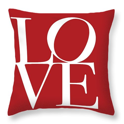 Love On Red Throw Pillow featuring the digital art Love On Red by Dan Sproul