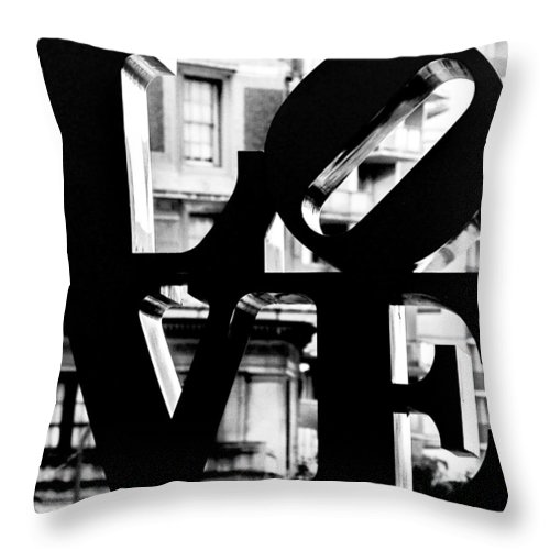Love Philadelphia Black And White Throw Pillow featuring the photograph Love Philadelphia Black And White by Terry DeLuco