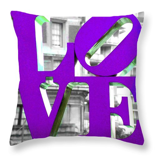 Love Philadelphia Pink Throw Pillow featuring the photograph Love Philadelphia Purple by Terry DeLuco
