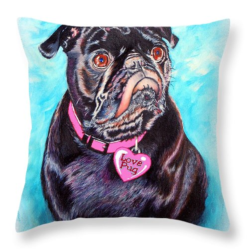 Pug Throw Pillow featuring the painting Love Pug by Donna Proctor