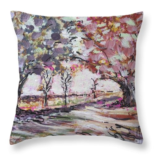 Two Trees Throw Pillow featuring the painting Love Story by Jacqui Hawk