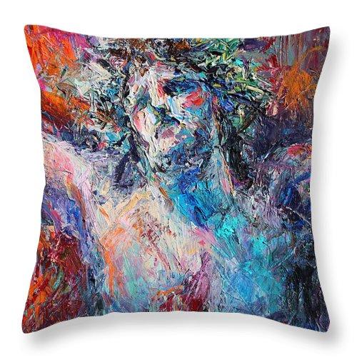 Jesus Painting Throw Pillow featuring the painting Love by Svetlana Novikova