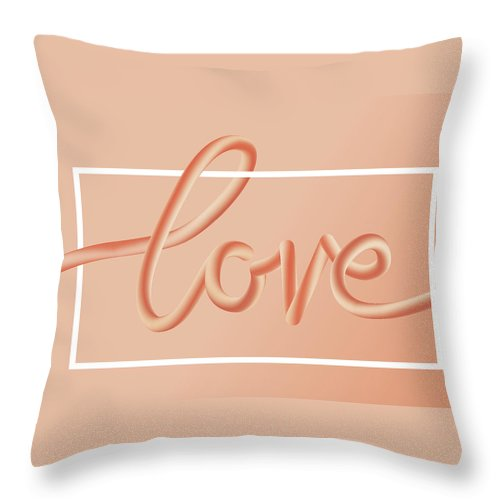 Home Decor Throw Pillow featuring the digital art Love Text Lettering In Red Color by Apagafonova
