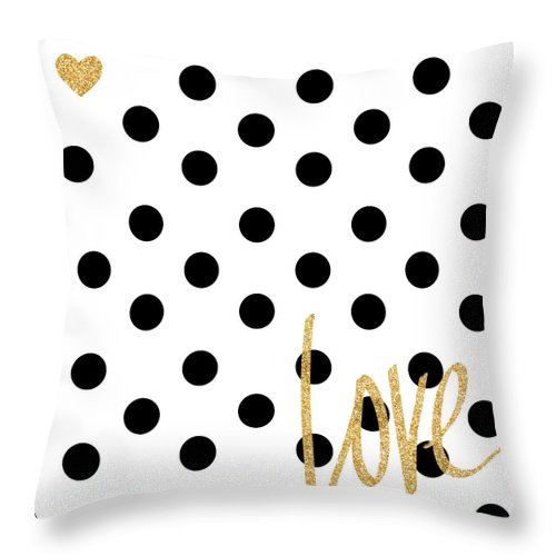 Love Throw Pillow featuring the digital art Love With Dots by South Social Studio