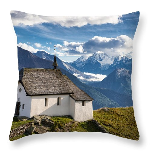 Chapel Throw Pillow featuring the photograph Lovely Little Chapel In The Swiss Alps by Matthias Hauser