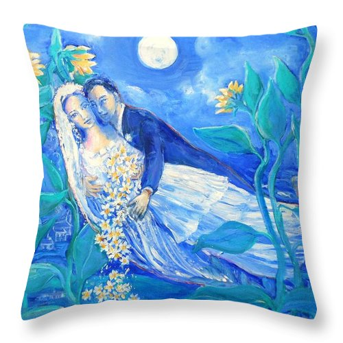 Young Lovers Throw Pillow featuring the painting Lovers And Sunflowers After Marc Chagall by Trudi Doyle