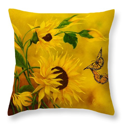 Sunflowers Throw Pillow featuring the painting Lover's Of The Sun by Carol Avants