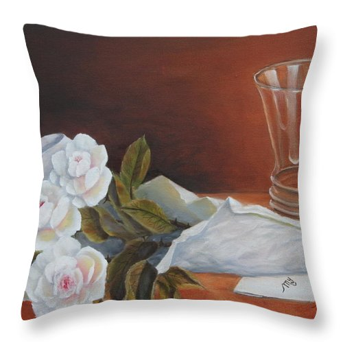 Still Throw Pillow featuring the painting Loves Bouquet by Lou Magoncia
