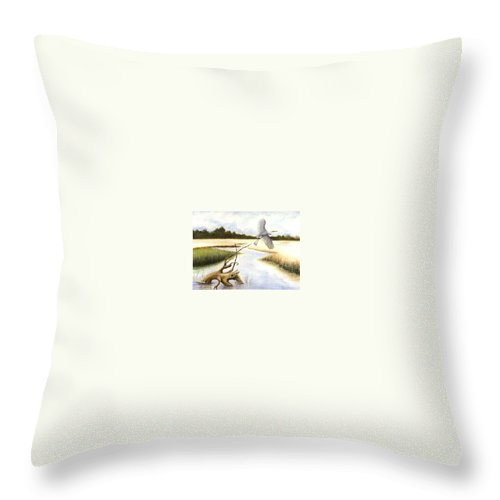 Egret Throw Pillow featuring the painting Low Country Marsh by Ben Kiger