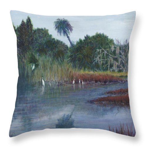 Landscape Throw Pillow featuring the painting Low Country Social by Ben Kiger