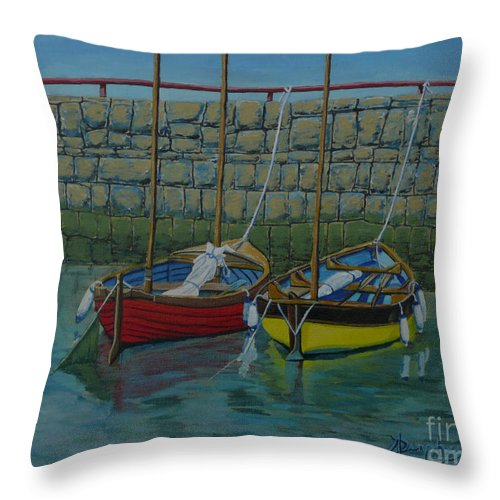 Rock Throw Pillow featuring the painting Low Tide by Anthony Dunphy