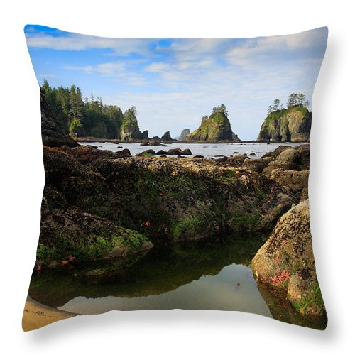 America Throw Pillow featuring the photograph Low Tide At The Arches by Inge Johnsson